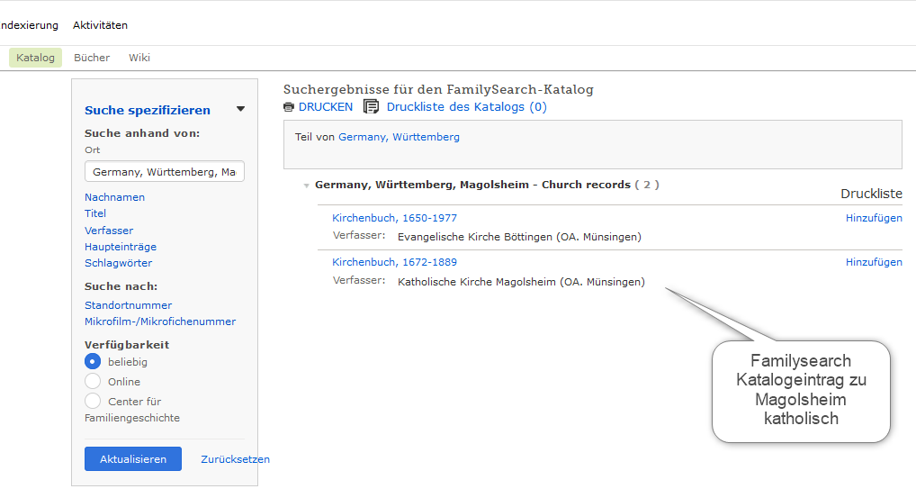 Familysearch Katalogsuche