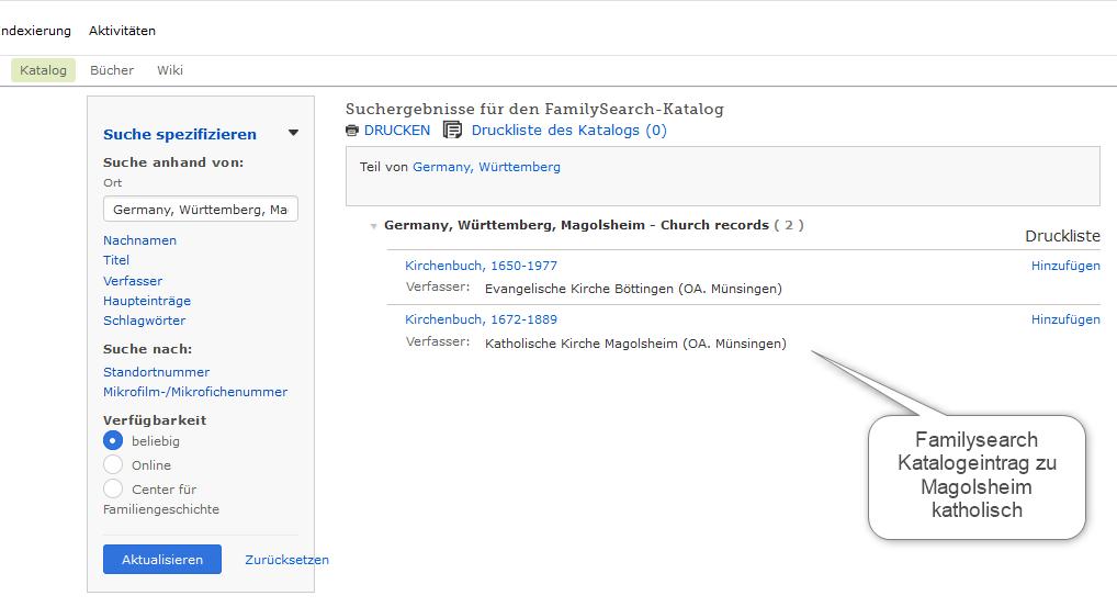Familysearch Katalogsuche